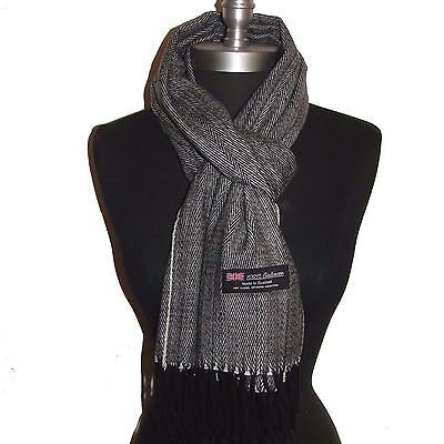 New 100% Cashmere Scarf Black/White Twill Check Plaid Wool Soft Unisex (#G07c