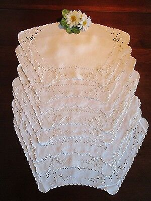 8 Madiera White Linen Placemats Eyelet & Embroidery, Outstanding, Vintage