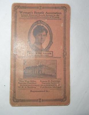 Antique Woman's Benefit Assoc. Sewing Needle Book Port Huron Michigan