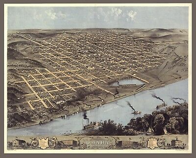 "1868 Omaha, Nebraska- antique home decor, vintage City MAP, 20""x16"" ART Print"
