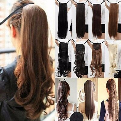 Real Thick Wavy Straight Drawstring Ponytail Clip in Hair Extensions as Human AU