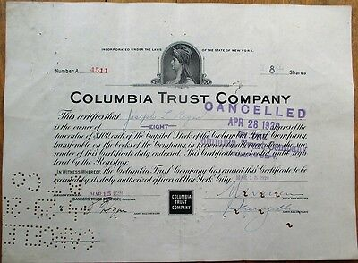 'Columbia Trust Company' 1920 Bank Stock Certificate - New York, NY