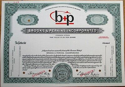 'Brooks & Perkins' Airplane Cargo- Cadillac, Michigan SPECIMEN Stock Certificate