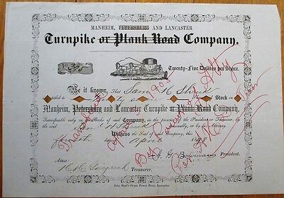 Manheim Petersburg Lancaster Turnpike Plank Road Co. 1898 Stock Certificate - PA