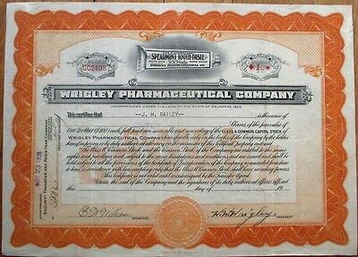 W. W. WRIGLEY-Signed Pharmaceutical Spearmint Tooth Paste 1926 Stock Certificate