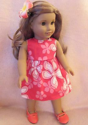 Red Floral Dress Set fits American Girl Doll18 Inch Clothes Seller lsful