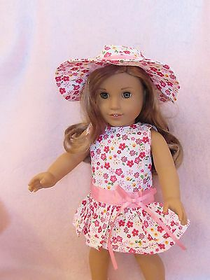 Hat Floral Dress Set fits American Girl Doll18 Inch Clothes Seller lsful