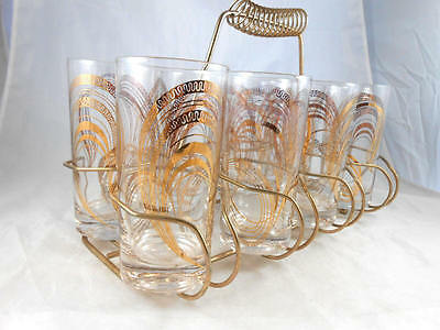 Mid Century 50's Vintage GAY FAD Set of 8 Gold Finish Highball Glasses and Rack