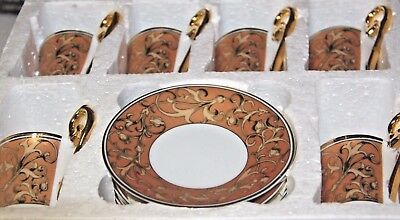 12 piece set  gold tea set  Porcelain fine Porcelain gold boxed gold gilt set