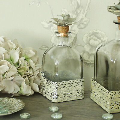 Small square glass rose top cork decorative bottle decanter shabby vintage chic