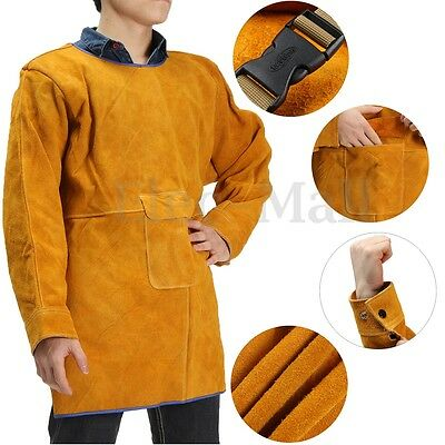 Leather Welding Long Coat Apron Protective Clothing Apparel Suit Welder Weld Bib