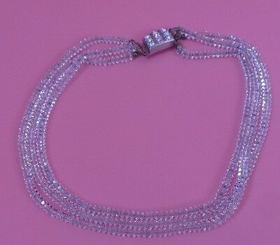 Vintage Three Stranded Crystal NECKLACE Made In Italy