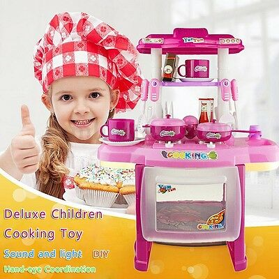 14.56*8.26*18.51'' Kid Kitchen Cooking Pretend Role Toy Lights Sound Electronic