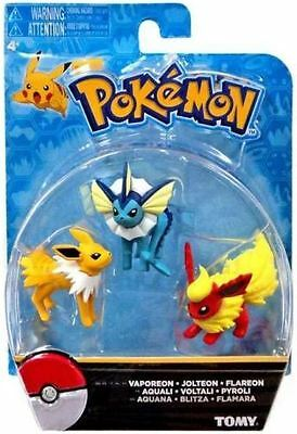 Pokemon TOMY : Vaporeon, Jolteon & Flareon Mini Figure 3-Pack - Sealed Free P&P