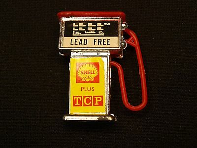 """Vintage Miniature 1.75"""" Toy Old Style Shell Plus TCP Advertising Gas Pump VGC"""