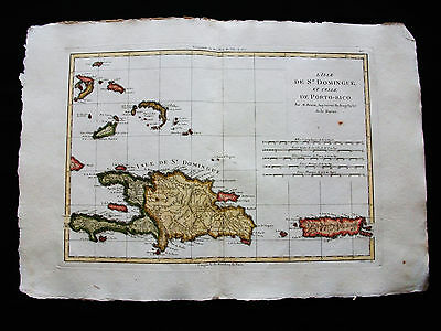 1787 BONNE - rare map CENTRAL AMERICA, CARIBBEAN, PUERTO RICO, SANTO DOMINGO