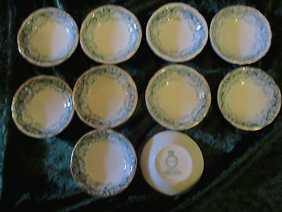 RARE! Set of 10 John Maddock & Sons Royal Vitreous Green Seville Butter Pats
