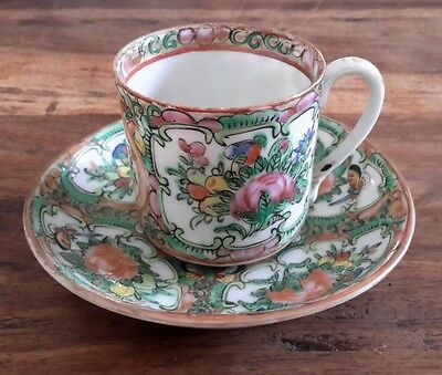 Antique Japanese Tea Cup & Saucer Butterfly & Flower Hand Painted