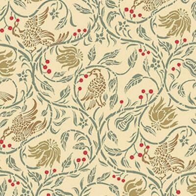 Melody Jane Dolls House Birds & Berries Miniature Print 1:24 Wallpaper Cream
