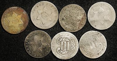 7 - 3 Cent Silver with Dates.  7 coins.  107121
