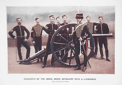 Old Antique Print Royal Horse Artillery Sergeant 12 Pounder Cannon 1900 Military
