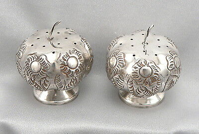 Vintage STERLING Silver Floral Repousse MEXICO SALT & PEPPER Shakers Tomato