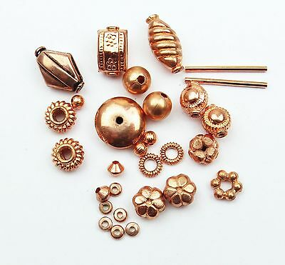 Mix Of Bright Solid Copper Focal Beads Spacer Beads Jewellery Making 25+ Pieces
