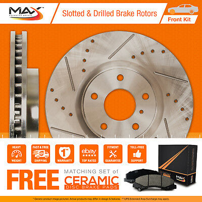 [FRONT KIT] Slotted & Cross Drilled Disc Brake Rotors AND Max Ceramic Pads