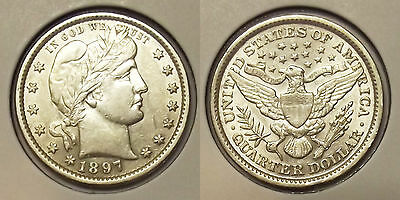 "1897 BARBER QUARTER ""ALMOST UNCIRCULATED"" 25c SILVER COIN"