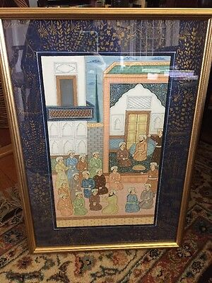 Vintage Framed Chinese Painting On Blue Silk  With Gold Accents