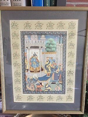 Vintage Framed Chinese Painting On Gray  Silk  With Gold Accents