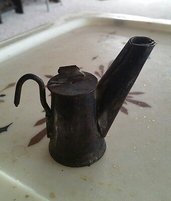 Antique coal miner's tin wick lamp , teapot shape, marked ROSEBURG.