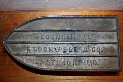 RARE Antique STOCKWELL & CO. BALTIMORE MD. Cast Iron Advertising Sad Iron Trivet