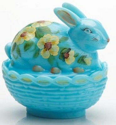 Mosser Glass Bonnie Milk Blue Handpainted Floral Covered Bunny Rabbit Dish