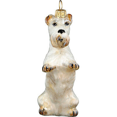 Welsh Sealyham Terrier Dog Polish Glass Christmas Ornament Decoration