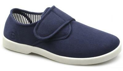 Dr Keller ROB Mens Canvas Touch Fasten Wide Casual Summer Deck Shoes Navy Blue