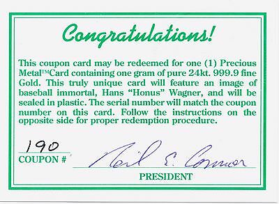 Coca Cola Series 1 Redemption Card # 190 for a Honus Wagner Gold Card -1993