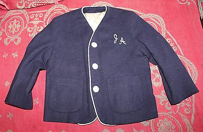 Vintage Childs Boys Navy Blue Wool Blazer Monogrammed