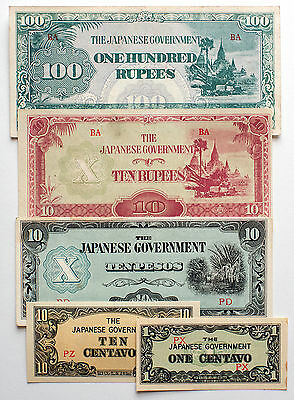 5 diff. Burma & Philippines WW2 1940's Japanese invasion paper money circ.-Unc.