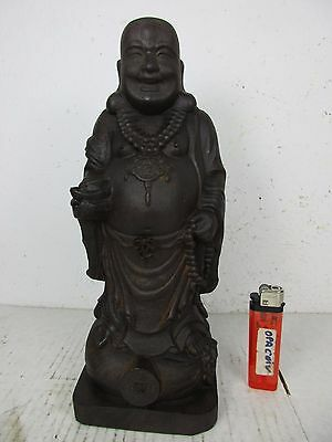Charmanter Happy Buddha Palisander Holz Handarbeit Schnitzerei China ~1970 25cm