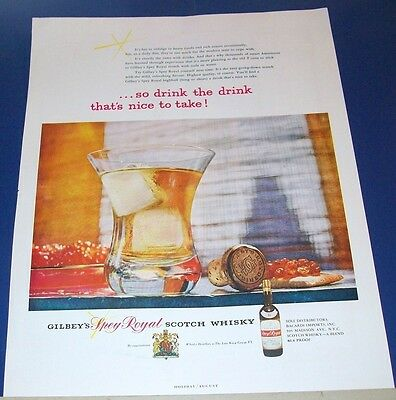 1954 Gilbey's Spey Royal Scotch Whisky Ad ~ easy going down