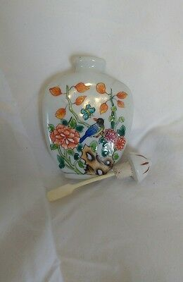 Antique Asian snuff bottle with spoon marked #2