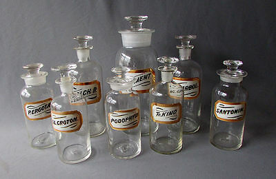 8 Antique PHARMACEUTICAL BOTTLES with Reverse Painted GLASS LABELS