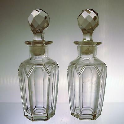 Pair of Scarce Fostoria Glass Cologne Bottles Alexis Pattern