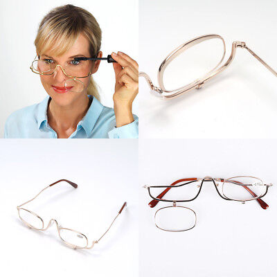 Magnifying Make Up Makeup Glasses Flip Down Lenses Gold Metal Frame +1.5-4.0