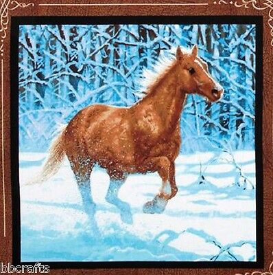 New Beautiful Brown Horse Galloping In The Snow Complete 15X15 Throw Pillow -R