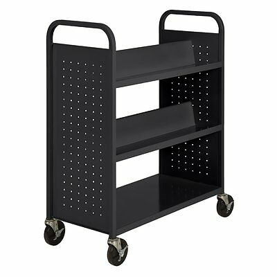 Sandusky SVF336-09 Black Heavy Duty Welded Steel Combination Shelf Book Truck w
