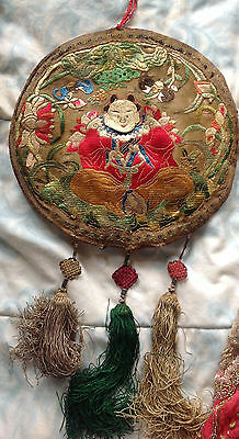 """Antique Chinese Embroidery 10"""" Wall Hanging"""