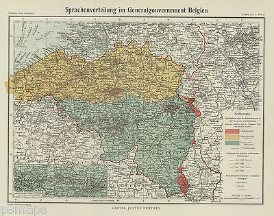 1914 Linguistic map of Belgium done by Germany-WW I