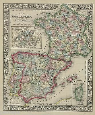 """1865 S.A. Mitchell """"Map of France, Spain and Portugal"""""""